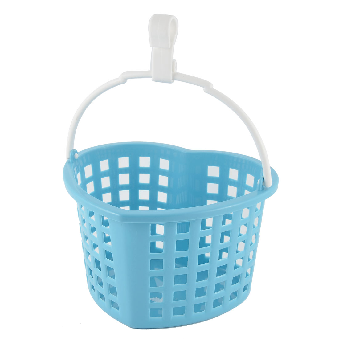Kitchen House Plastic Heart Shaped Hollow Out Gathering Hanging Storage Case Basket Blue