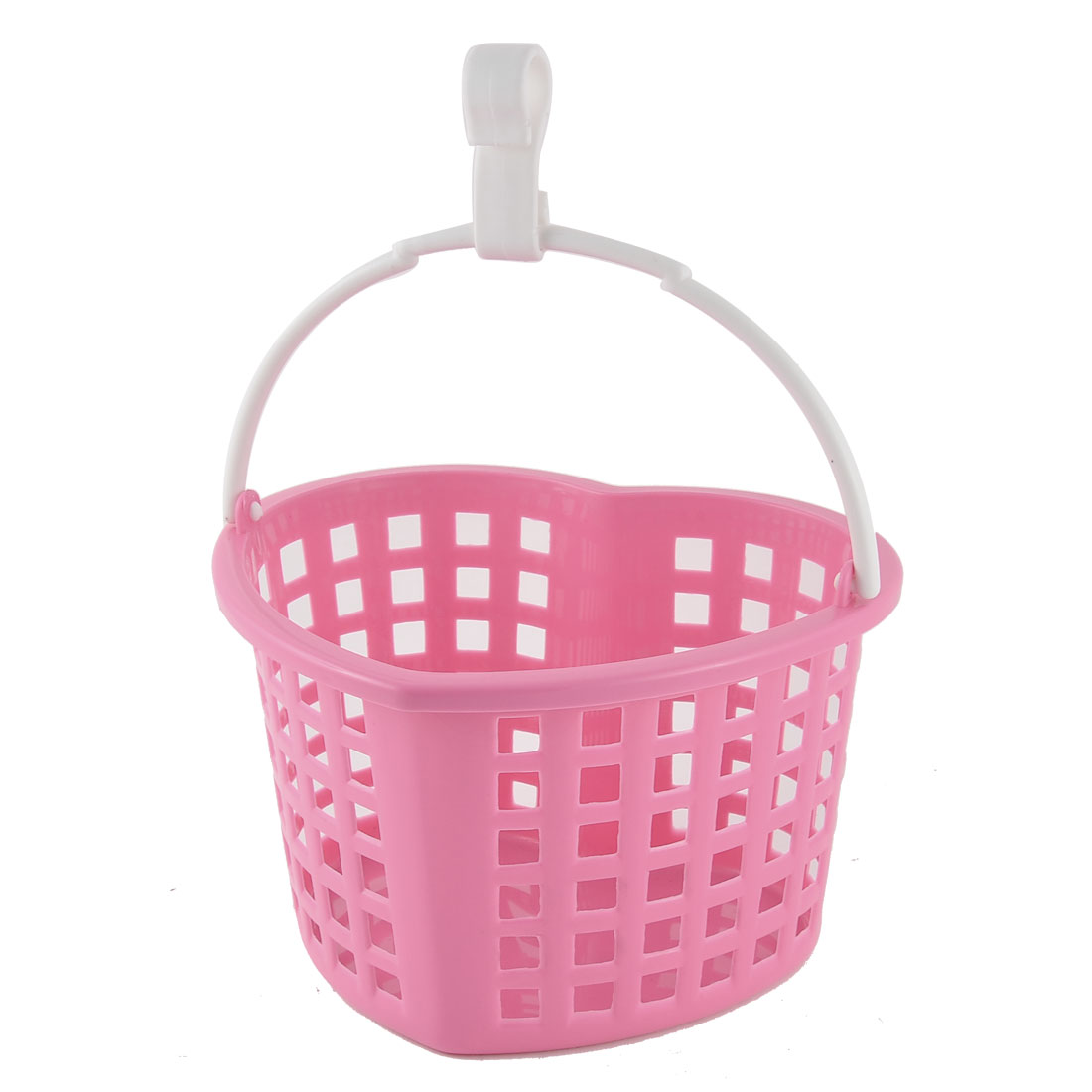 Kitchen House Plastic Heart Shaped Hollow Out Container Hanging Storage Case Basket Pink
