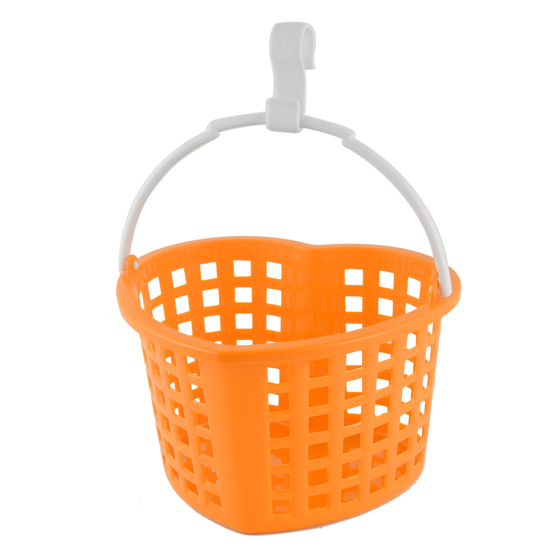 Kitchen Householder Plastic Heart Shaped Hollow Out Container Hanging Storage Case Basket Orange