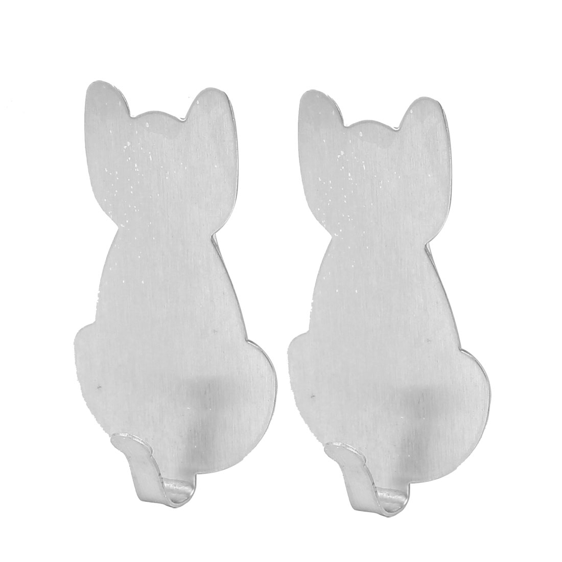 Household Kitchen Bathroom Wall Stainless Steel Cat Shaped Hanger Adhesive Hooks Silver Tone 2pcs