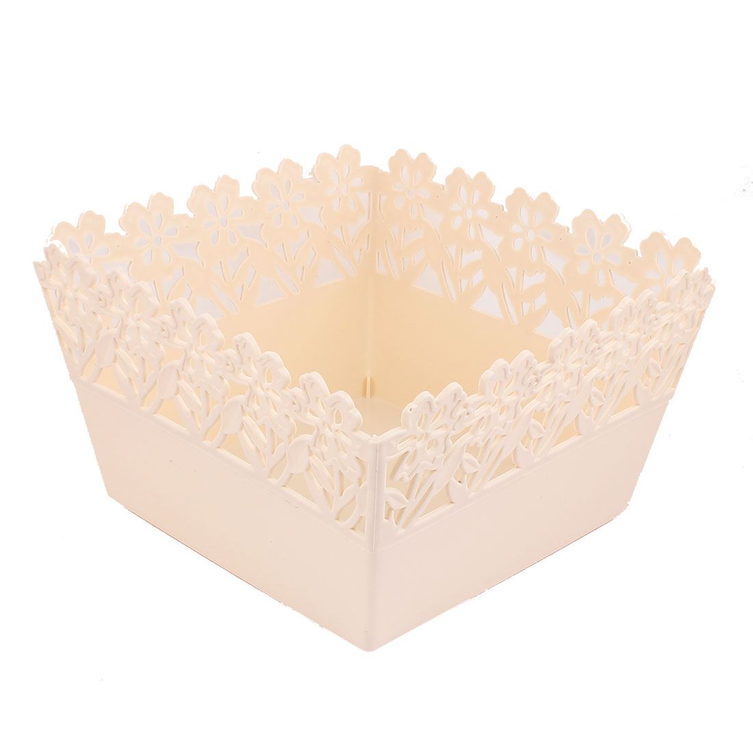 Kitchen House Plastic Square Hollow Out Multipurpose Container Storage Case Basket Off White