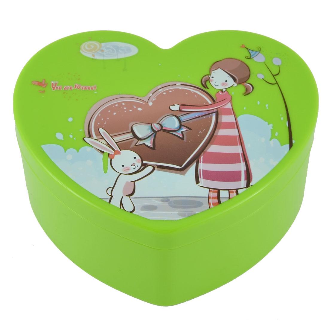 Travel School Plastic Girl Rabbit Pattern Eyelash Makeup Box Case Storage Green