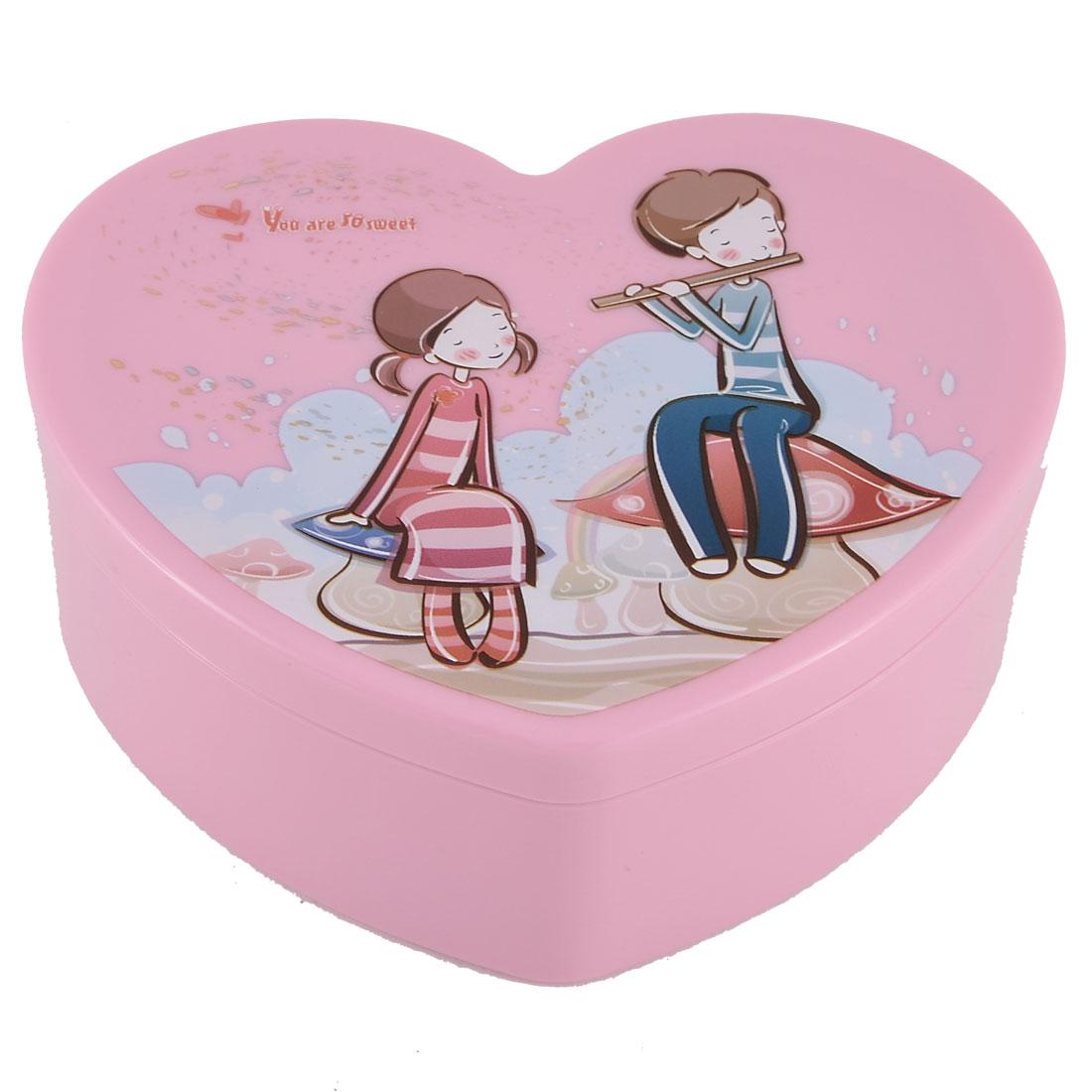 Dormitory Bracelet Necklace Plastic Couple Pattern Makeup Storage Case Rose Pink
