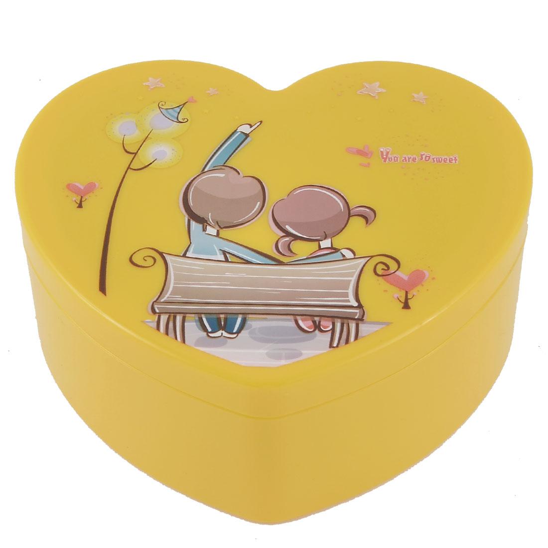 Household Bracelet Ring Plastic Heart Shaped Makeup Storage Case Organizer Dark Yellow