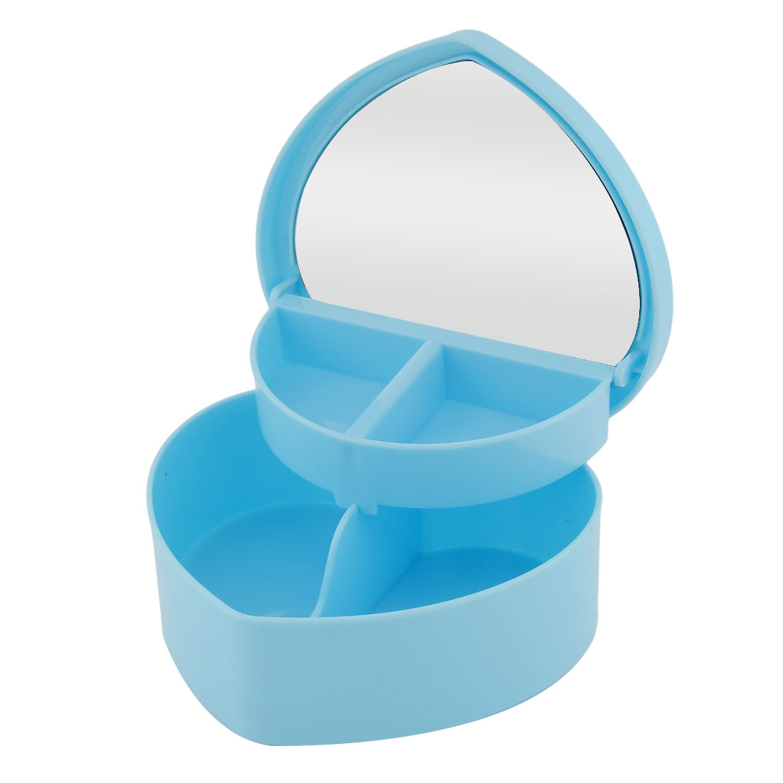 Ladies Plastic Heart Shaped Ring Bracelet Makeup Cosmetic Organizer Storage Case Blue w Mirror