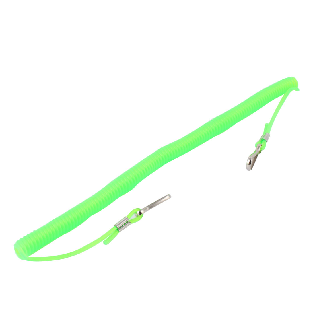 Fishing Contractility Metal Ended Plastic Coiled Rope Green 3 Meters Long