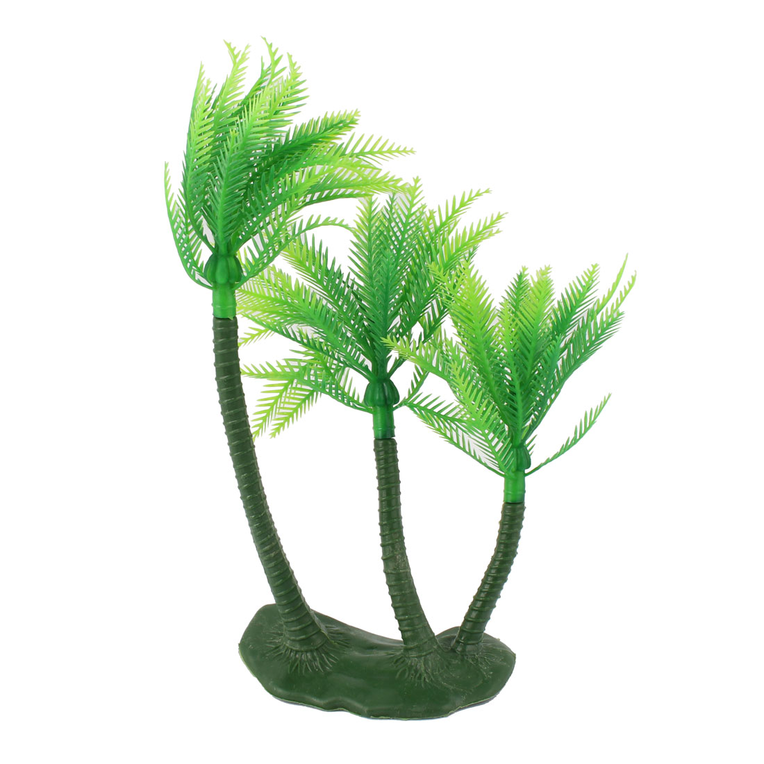 Aquarium Fish Tank Plastic Coconut Tree Shaped Plant Ornament Green