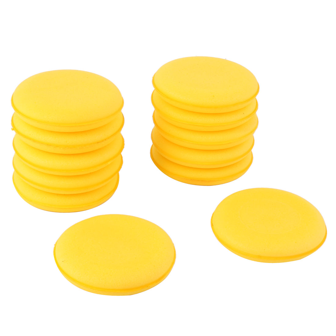 Auto Car Round Shaped Washing Sponge Cleaning Brush Pad Yellow 12 Pcs