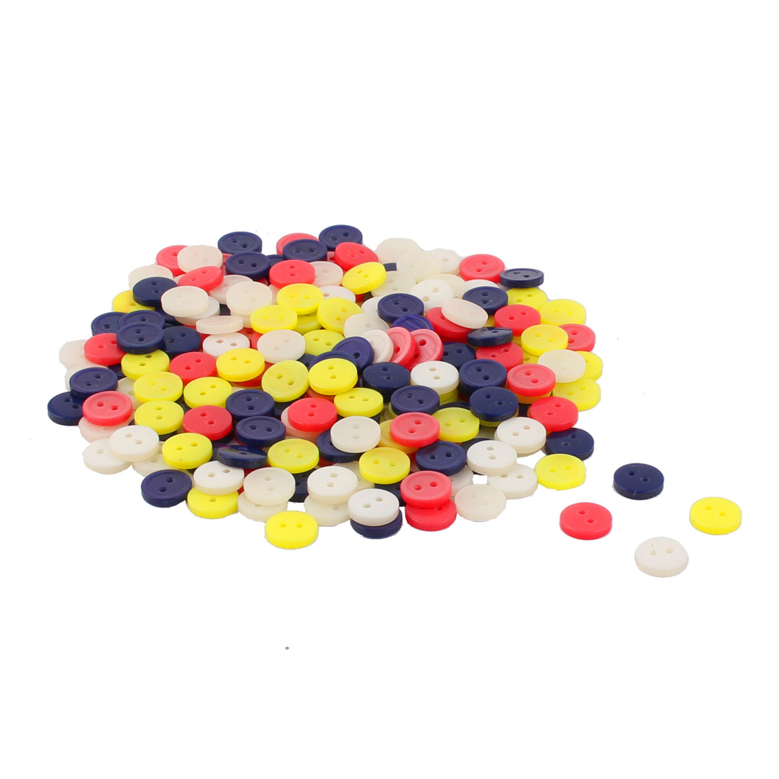 Household Plastic Round Shaped Clothes Trousers Shirt Button Assorted Color 208 Pcs