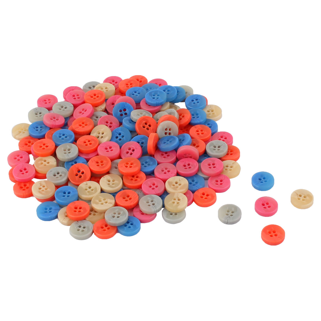 Household Plastic Round Shaped Clothes Trousers Shirt Button Assorted Color 176 Pcs