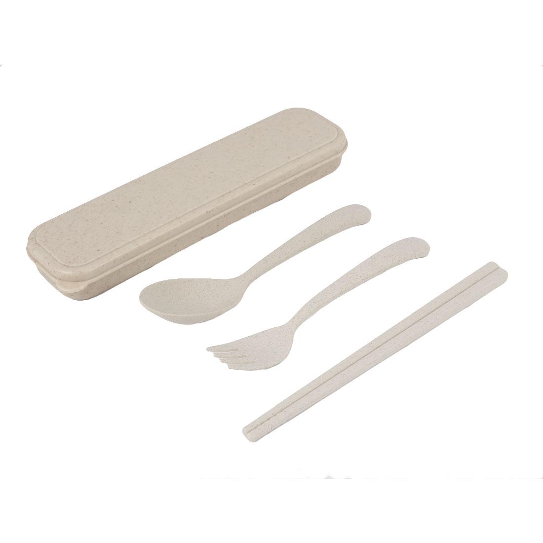 Household Travel Camping Tableware Plastic Chopsticks Spoon Fork Beige Set 3 in 1