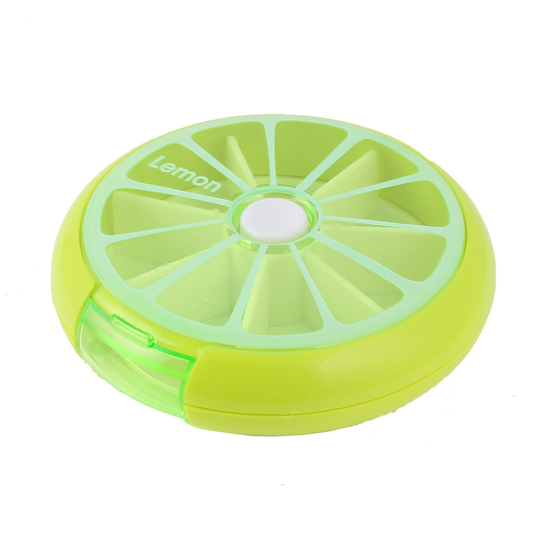 Household Travel Plastic Lemon Shaped Medicine Pill Box Case Container Green