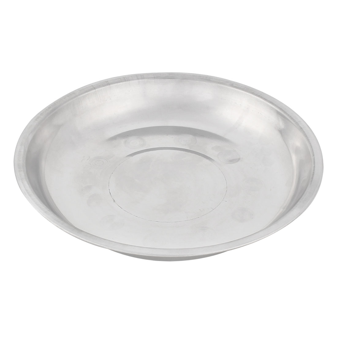 Household Kitchen Stainless Steel Round Shaped Dish Plate Silver Tone 17cm Diameter