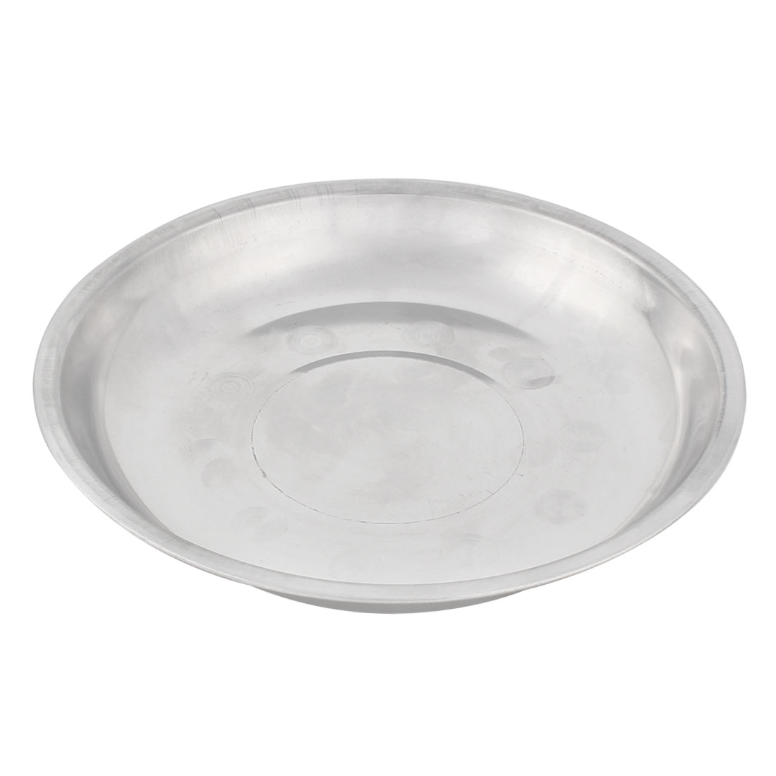 Household Kitchen Stainless Steel Round Shaped Dish Plate Silver Tone 19cm Diameter