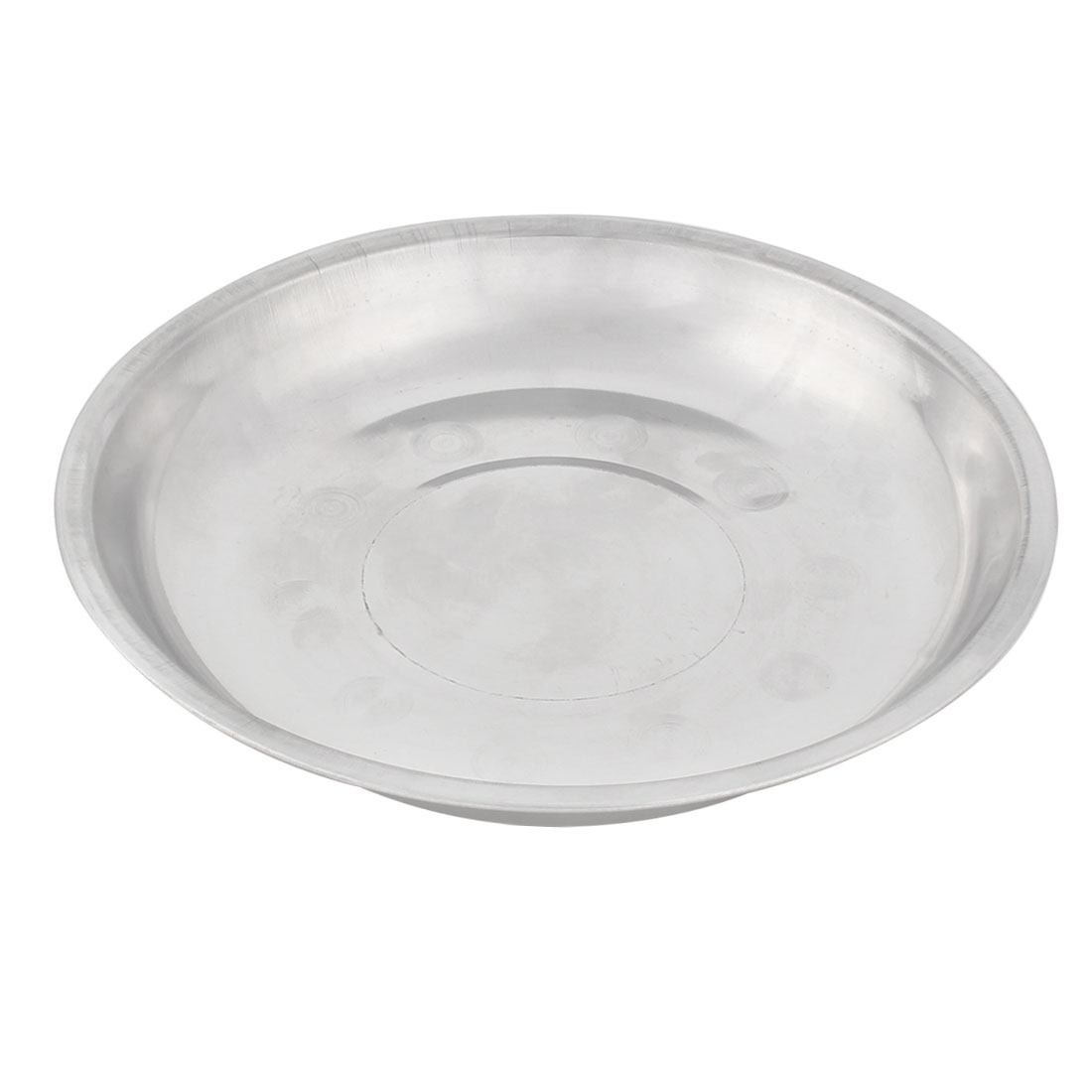 Household Kitchen Stainless Steel Round Shaped Dish Plate Silver Tone 21cm Diameter
