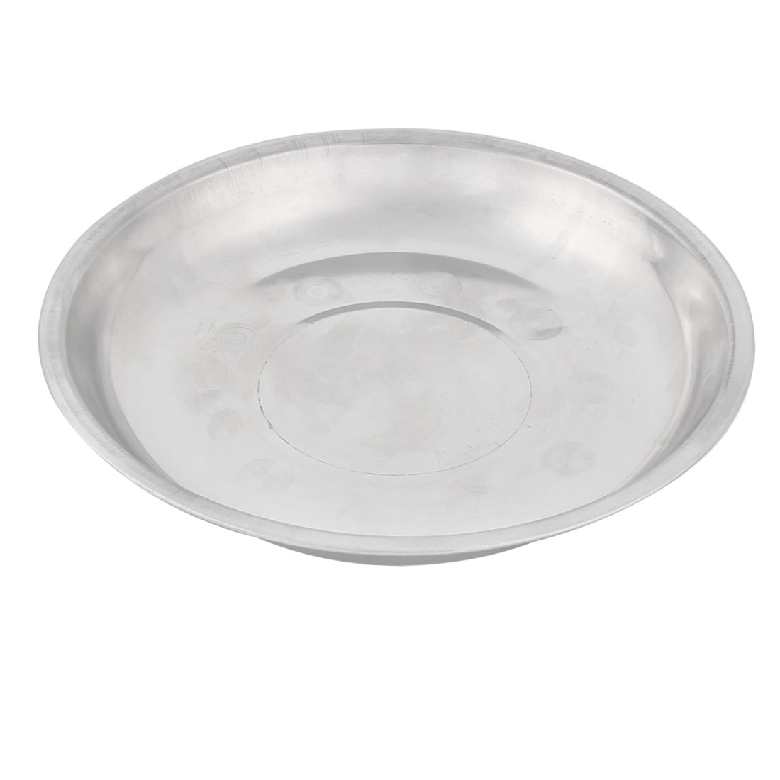 Household Kitchen Stainless Steel Round Shaped Dish Plate Silver Tone 23cm Diameter
