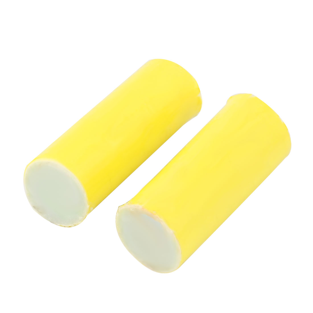 Household Bathroom Fibre Kitchenware Pan Pot Cleaning Brush Rod Yellow 2 Pcs