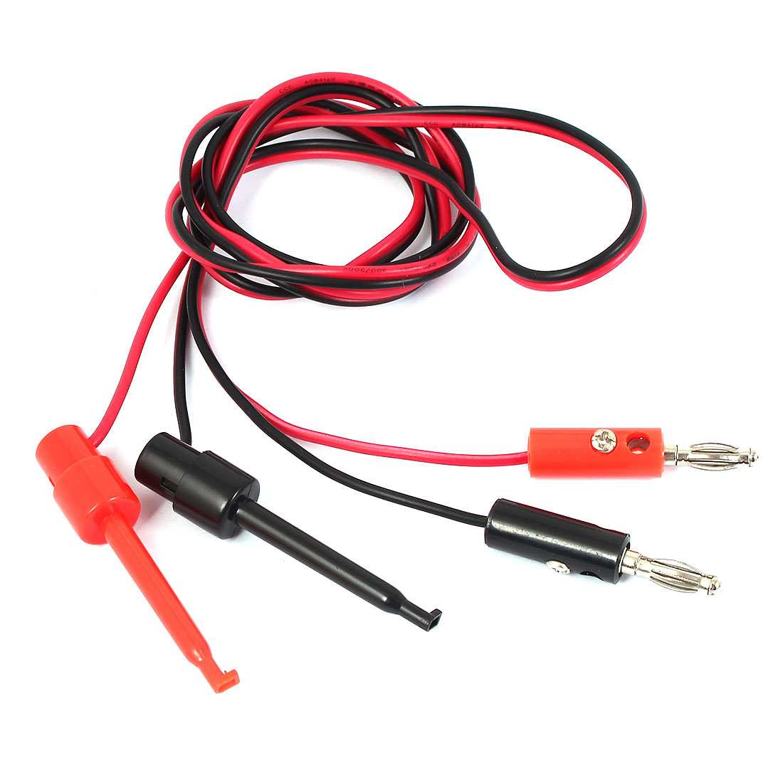 Multimeter Banana Male to Test Hook Clip Probe Cable Red Black 1M Length