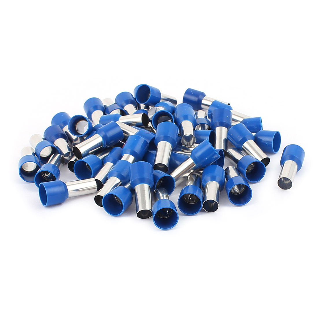 Tube Type Insulated Cable Wire Cold Pressing Terminals Blue Silver Tone 50Pcs