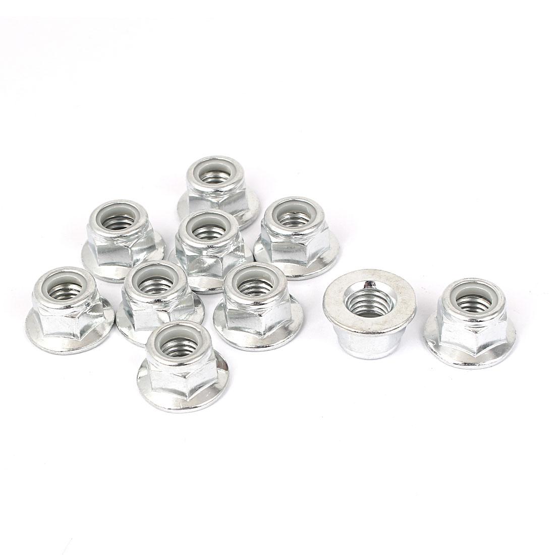M10 Zinc Plated Hex Flange Nylon Insert Locking Lock Nuts 10pcs