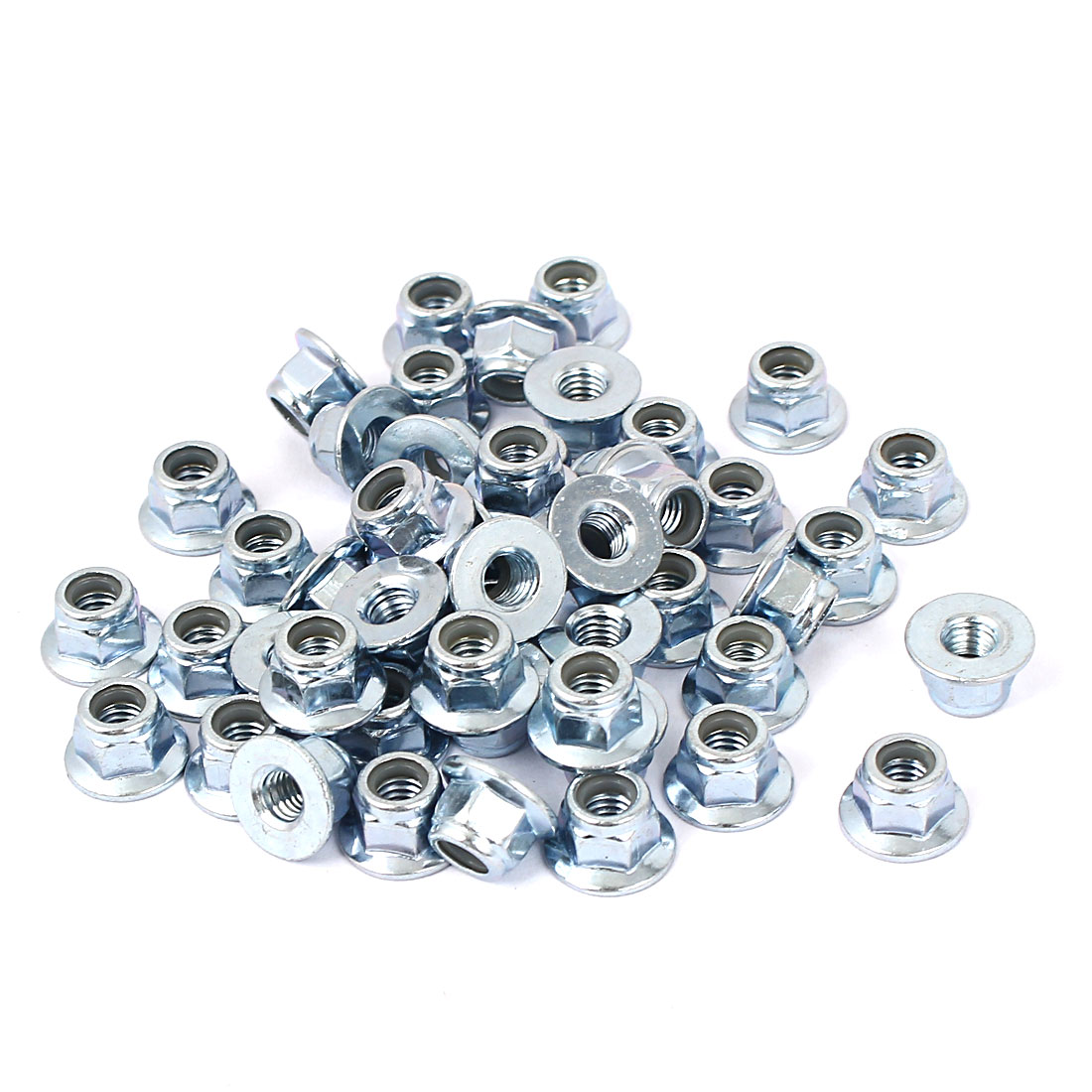 M5 Zinc Plated Hex Flange Nylon Insert Locking Lock Nuts 50pcs