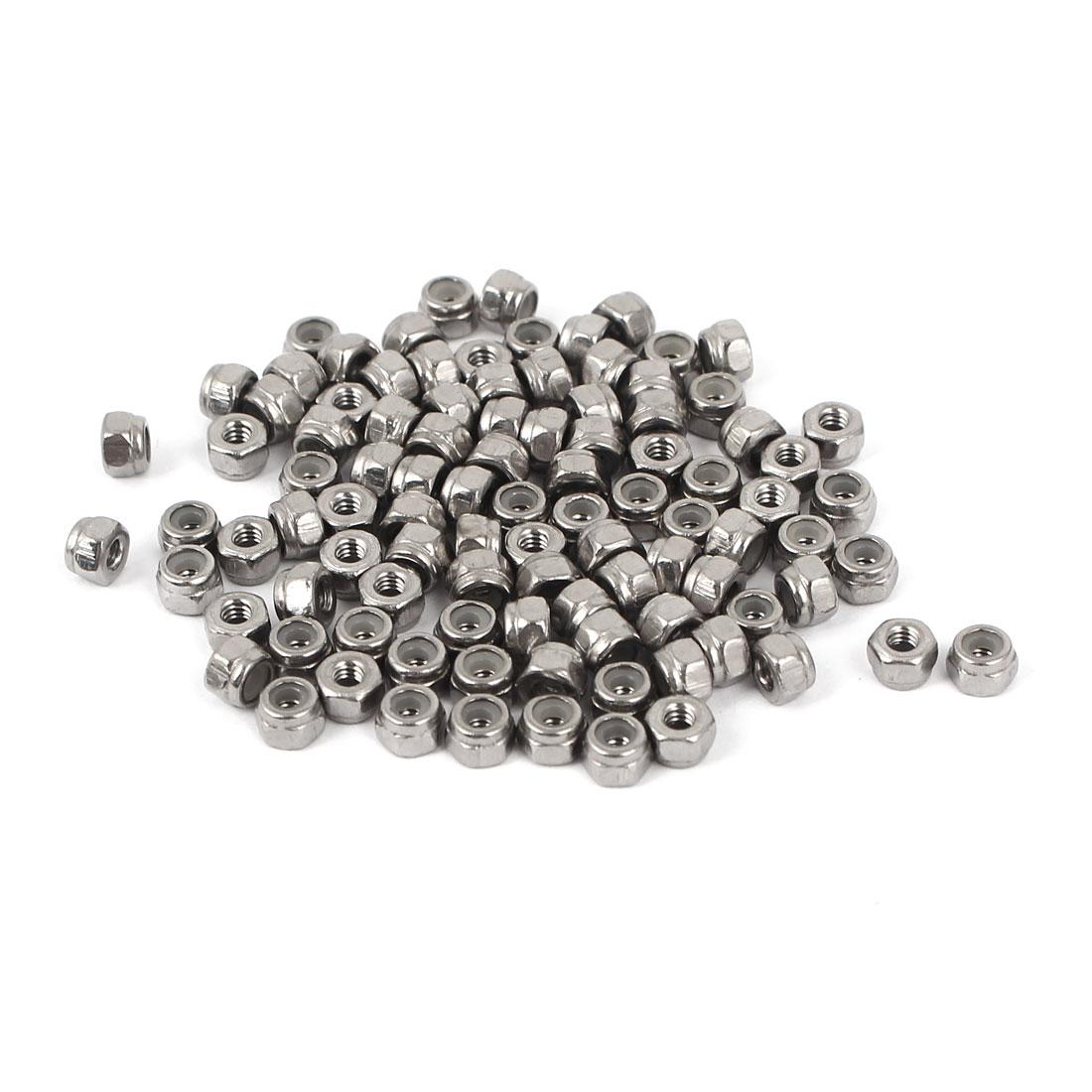 M2 304 Stainless Steel Nylock Self-Locking Nylon Insert Hex Lock Nuts 100pcs