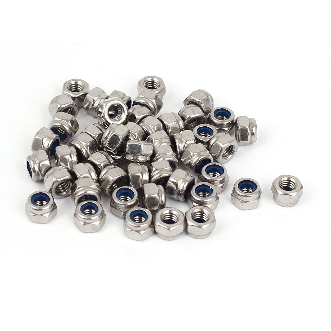 M4 304 Stainless Steel Nylock Self-Locking Nylon Insert Hex Lock Nuts 50pcs