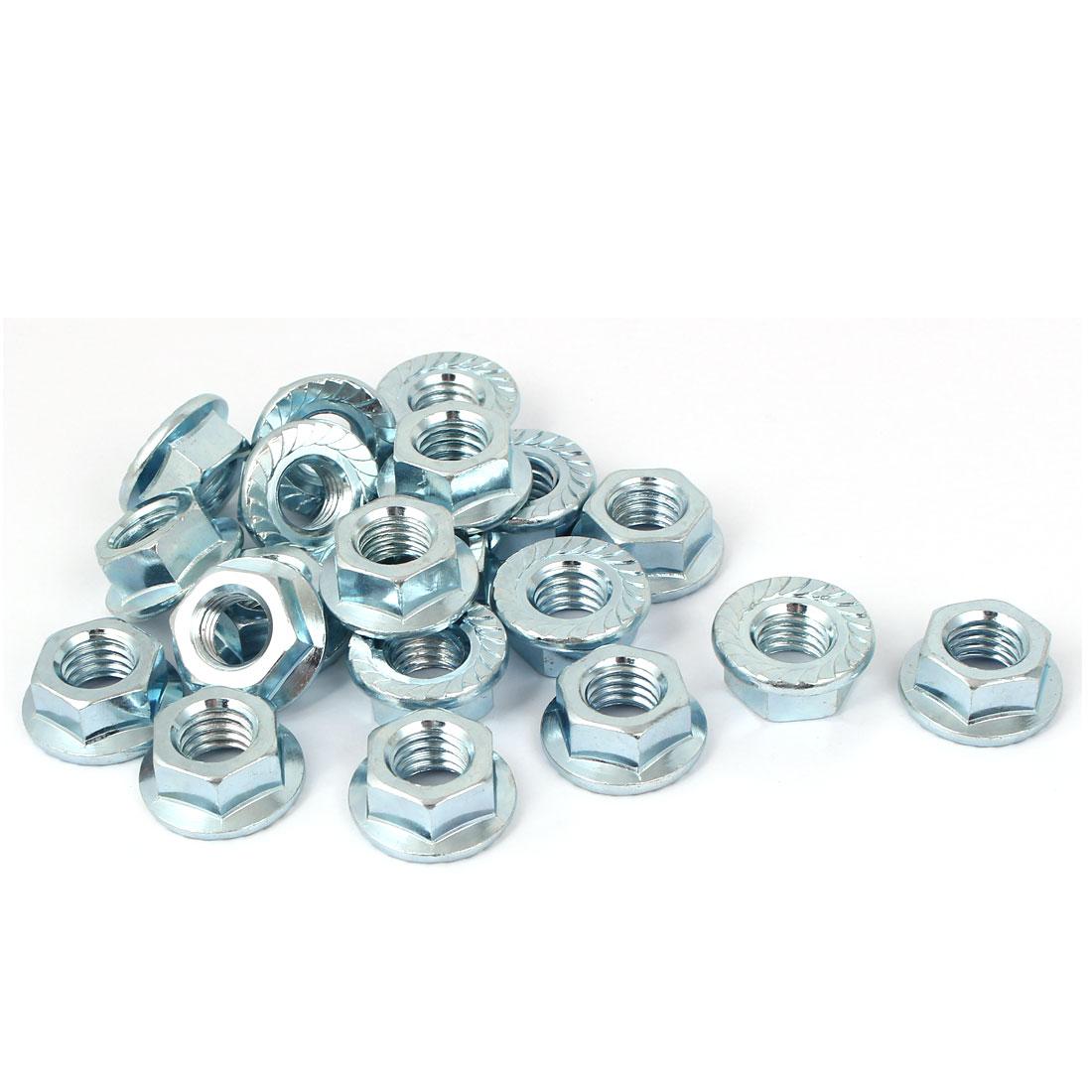 """1/2""""x13 Carbon Steel Serrated Hex Flange Lock Nuts 20pcs"""