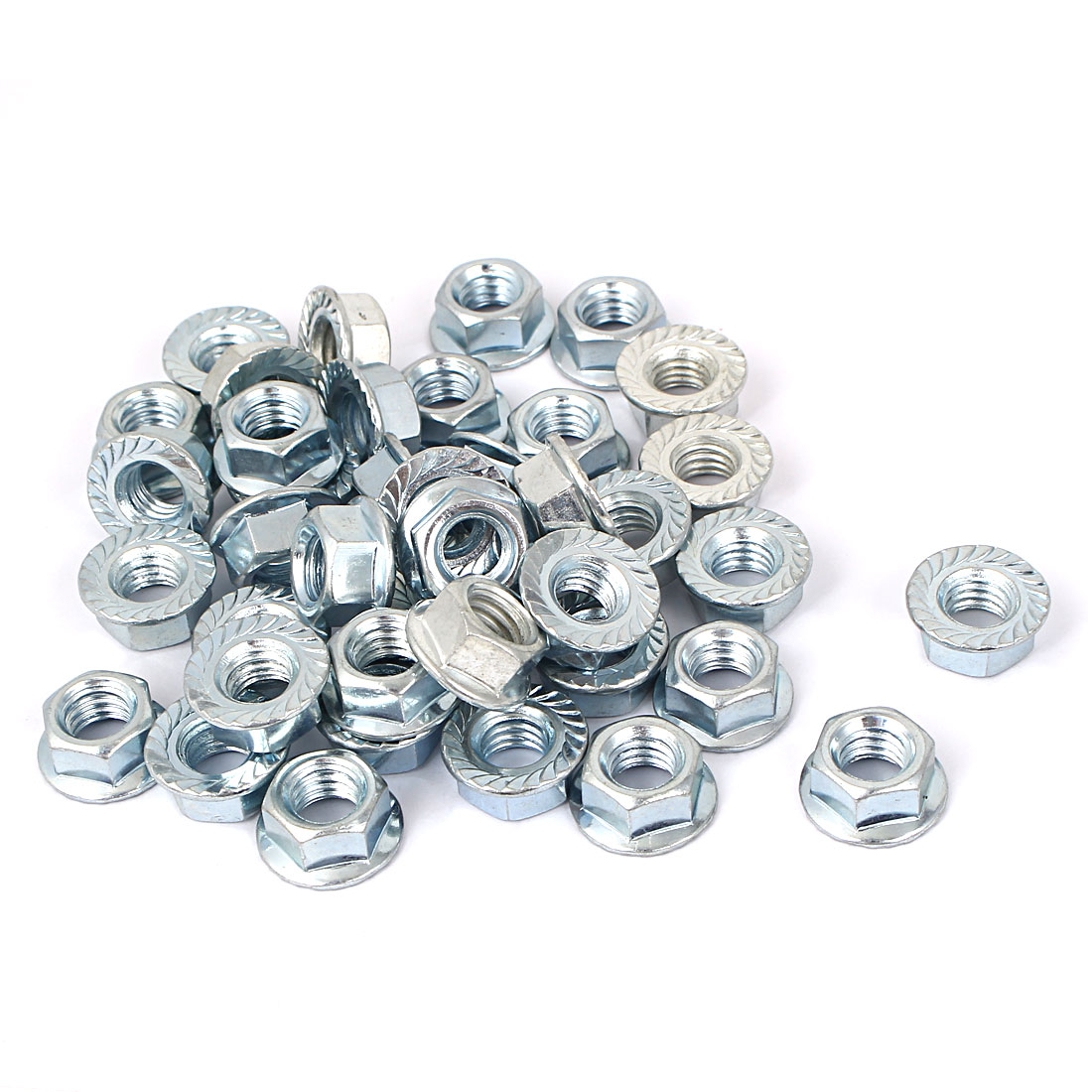 "3/8""x16 Carbon Steel Serrated Hex Flange Lock Nuts 40pcs"