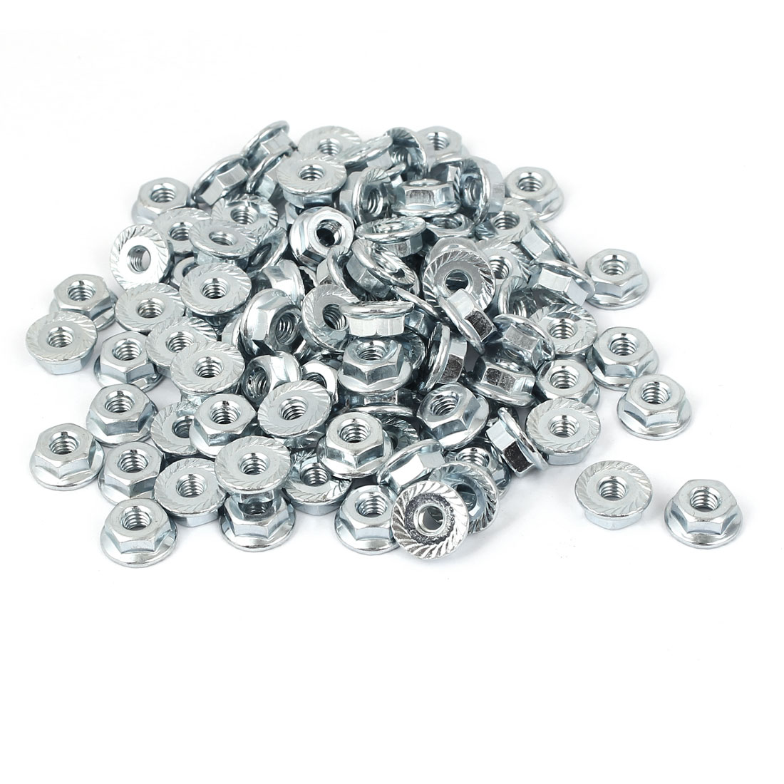 8#-32 Carbon Steel Serrated Hex Flange Lock Nuts 100pcs