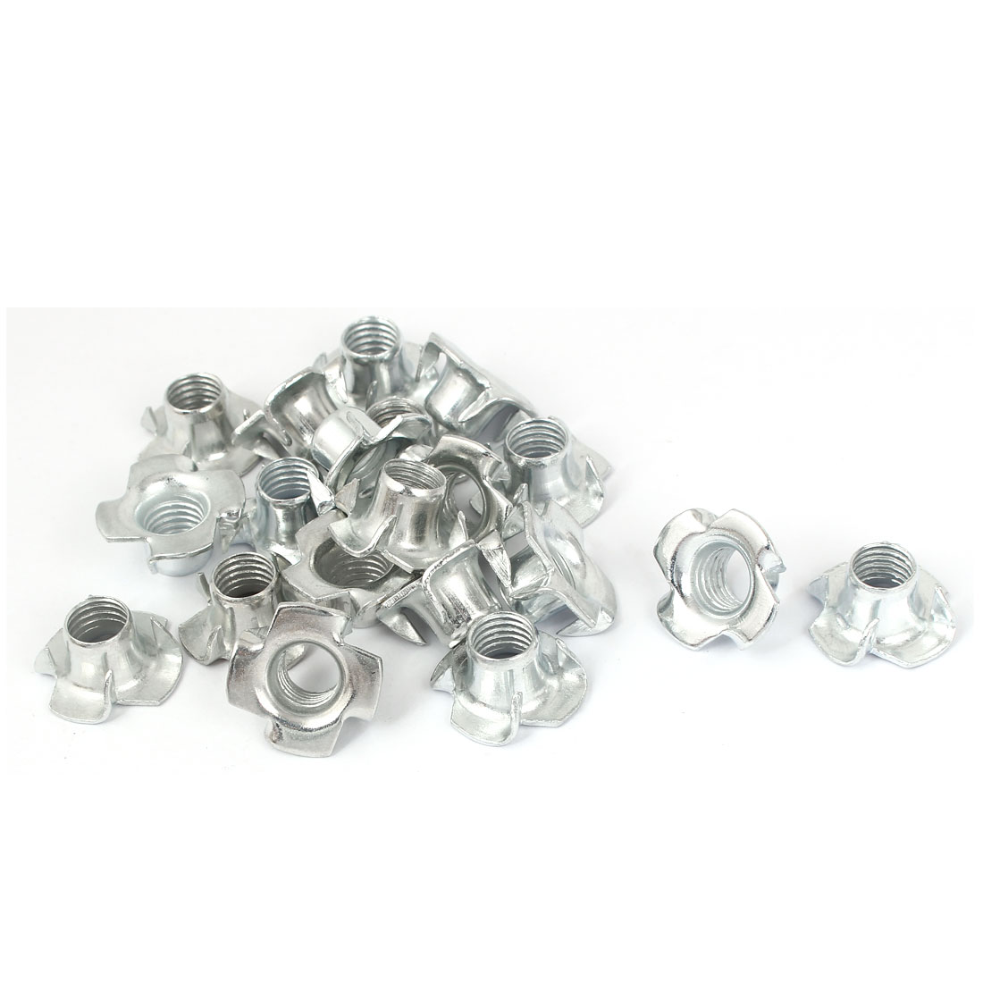 Furniture M10 Thread Zinc Plated 4 Prong Tee Nuts Insert Connectors 20pcs