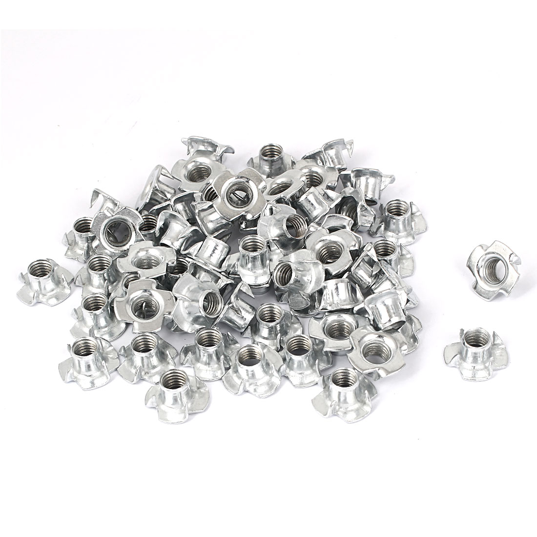 Furniture M8 Thread Zinc Plated 4 Prong Tee Nuts Insert Connectors 60pcs