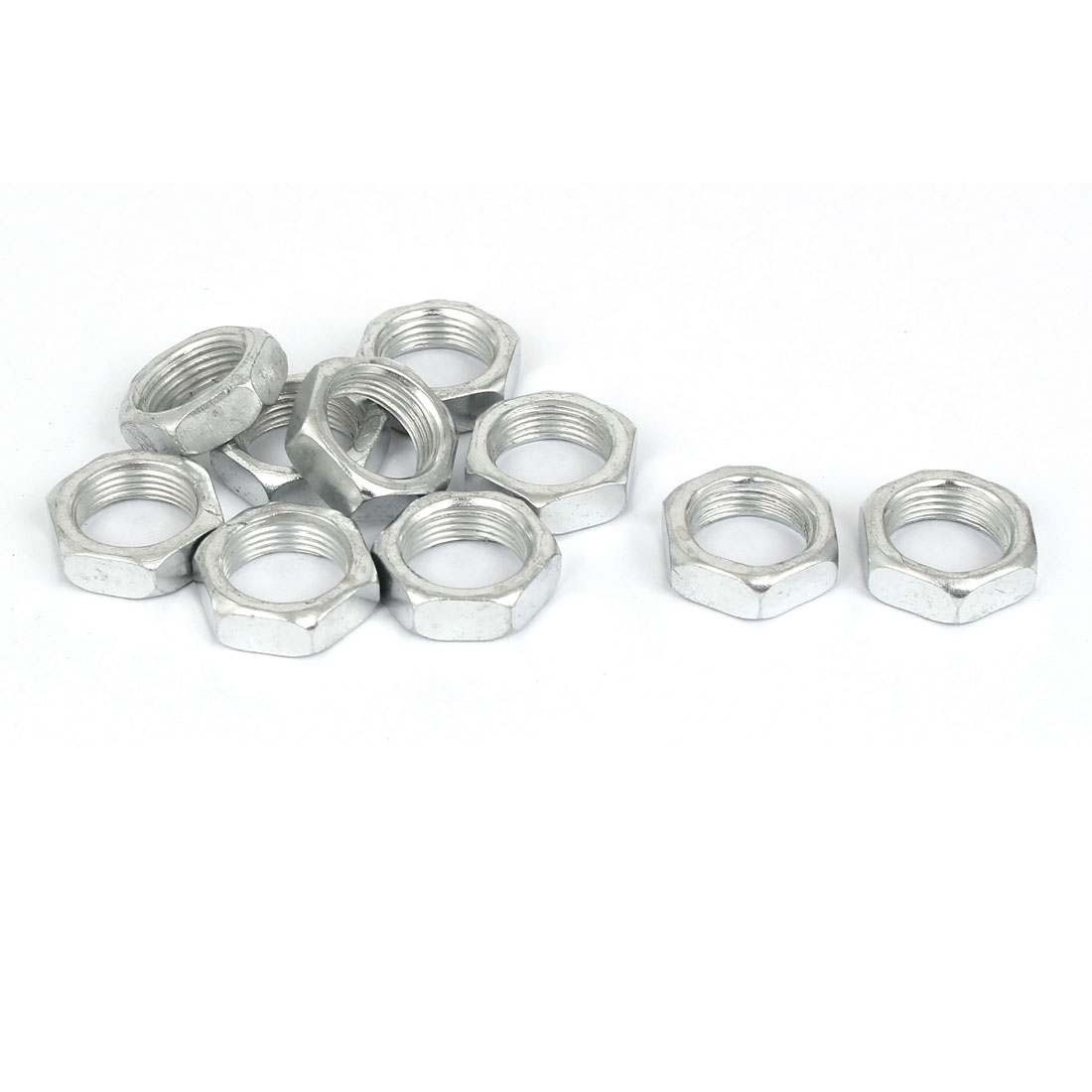 M14x7mm 1mm Pitch Zinc Plated Hex Nuts Fastener 10pcs