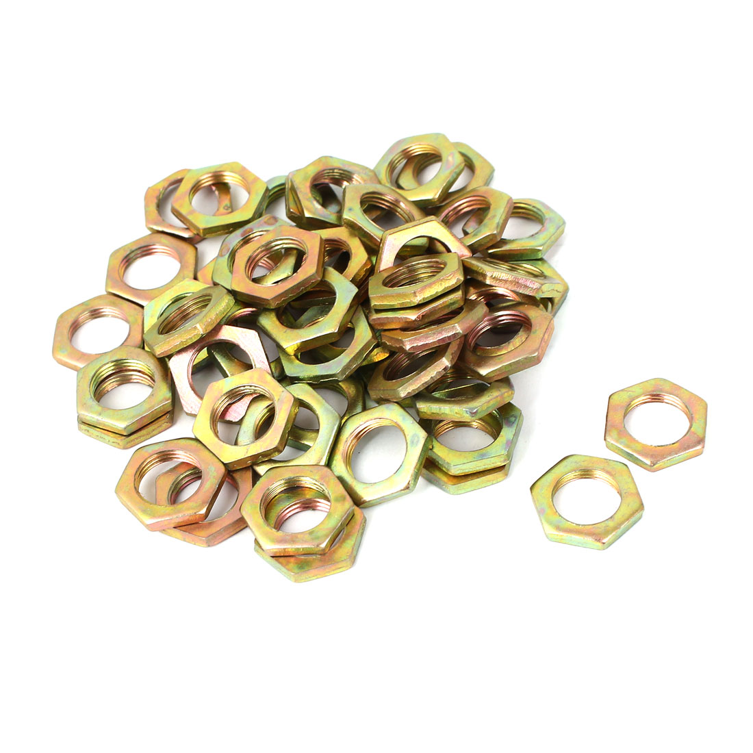 M12x1mmx3mm Carbon Steel Hex Nuts Fastener 50pcs for Screws Bolts