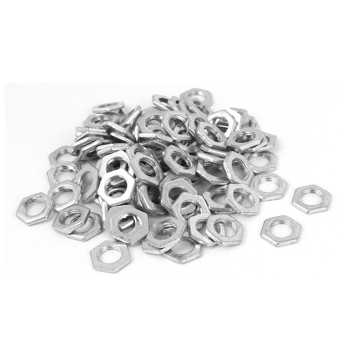 M8x2mm Zinc Plated Hex Nuts Fastener 100pcs for Screws Bolts