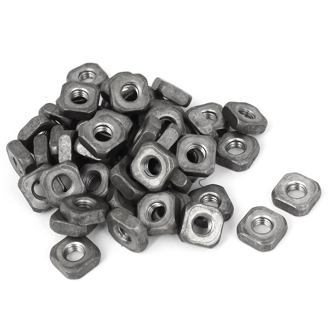 M8x16mmx6mm Carbon Steel Square Machine Screw Nuts 50pcs