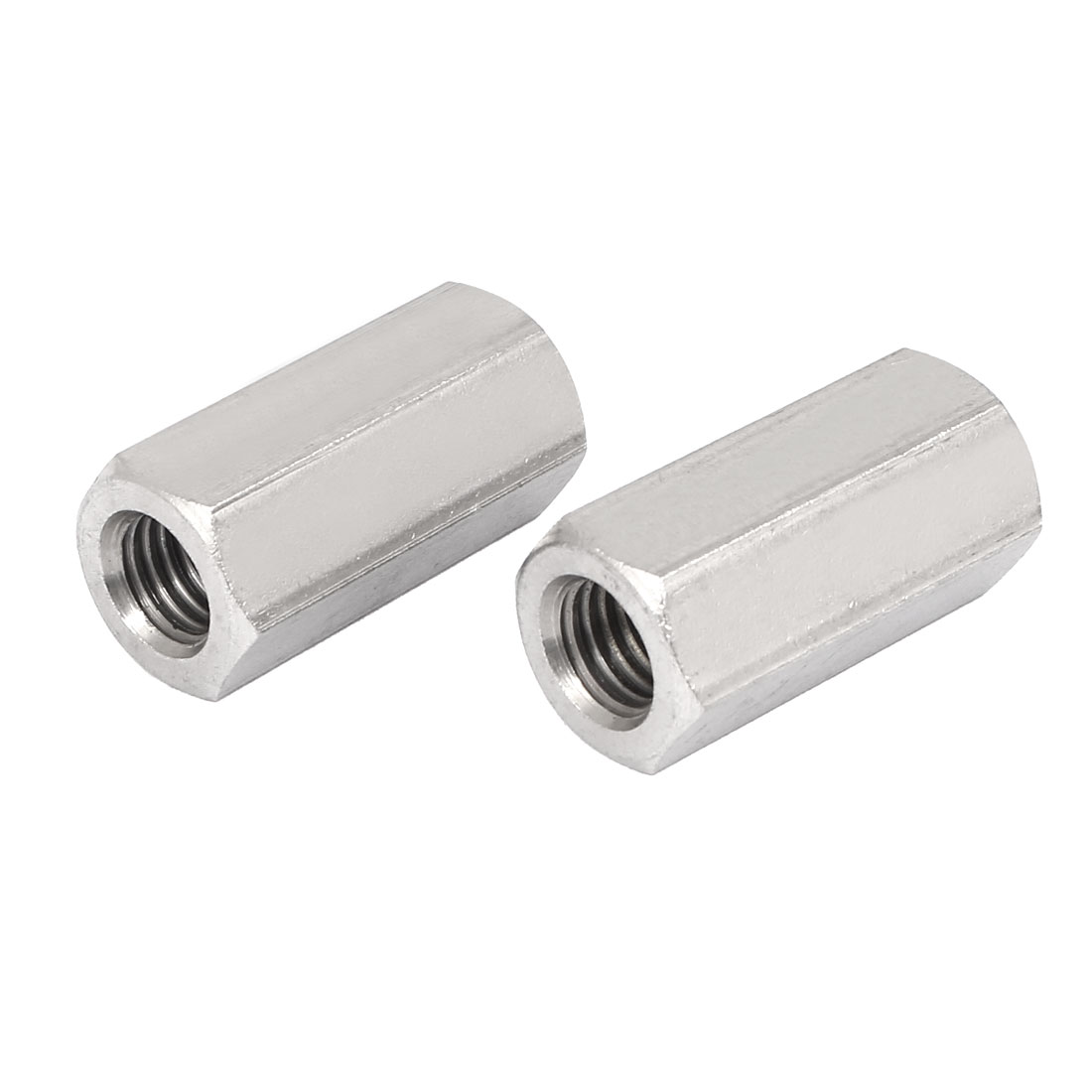 M12x40mm Stainless Steel Threaded Bar Rod Studding Hex Connector Deep Nut 2pcs