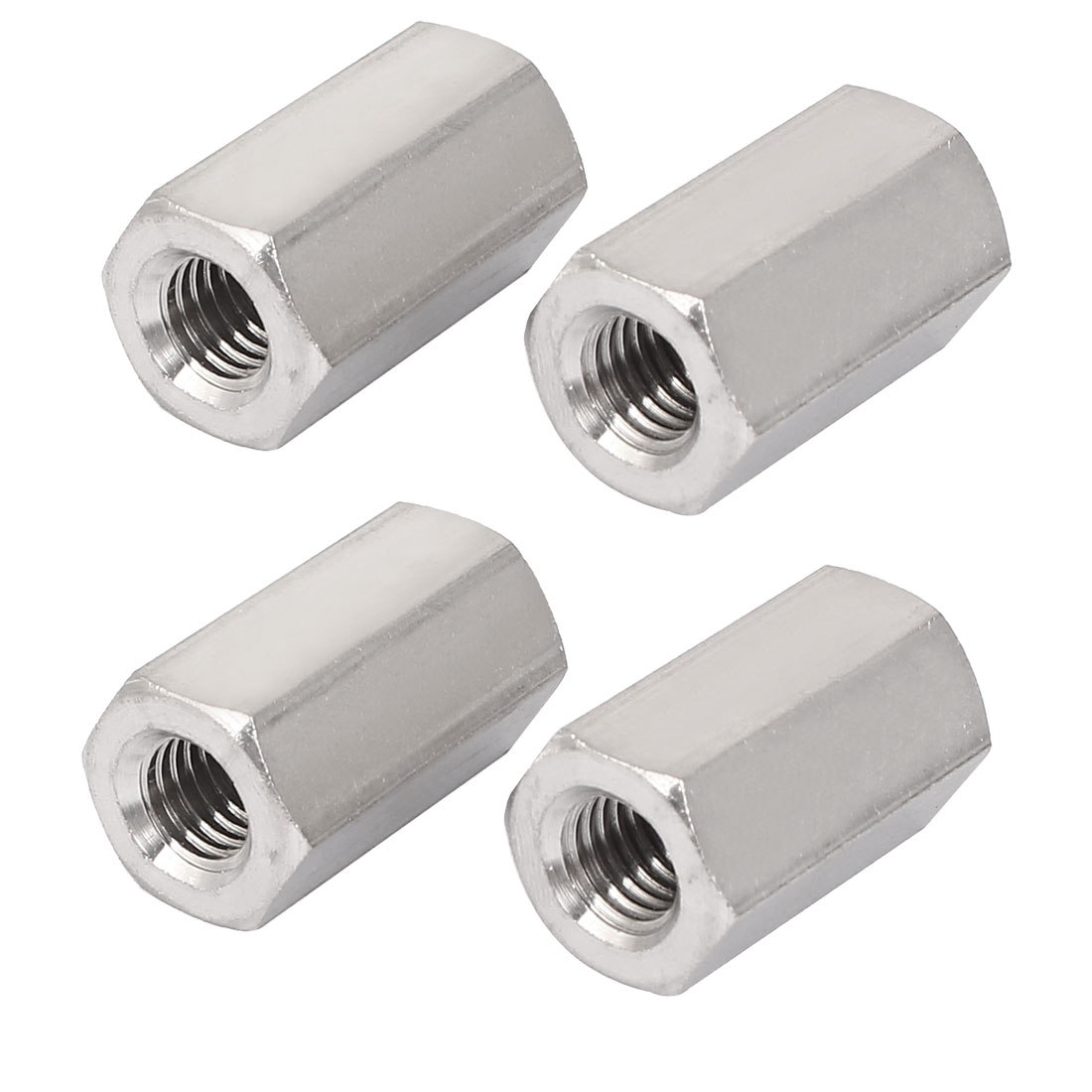 M10x30mm Stainless Steel Threaded Bar Rod Studding Hex Connector Deep Nut 4pcs
