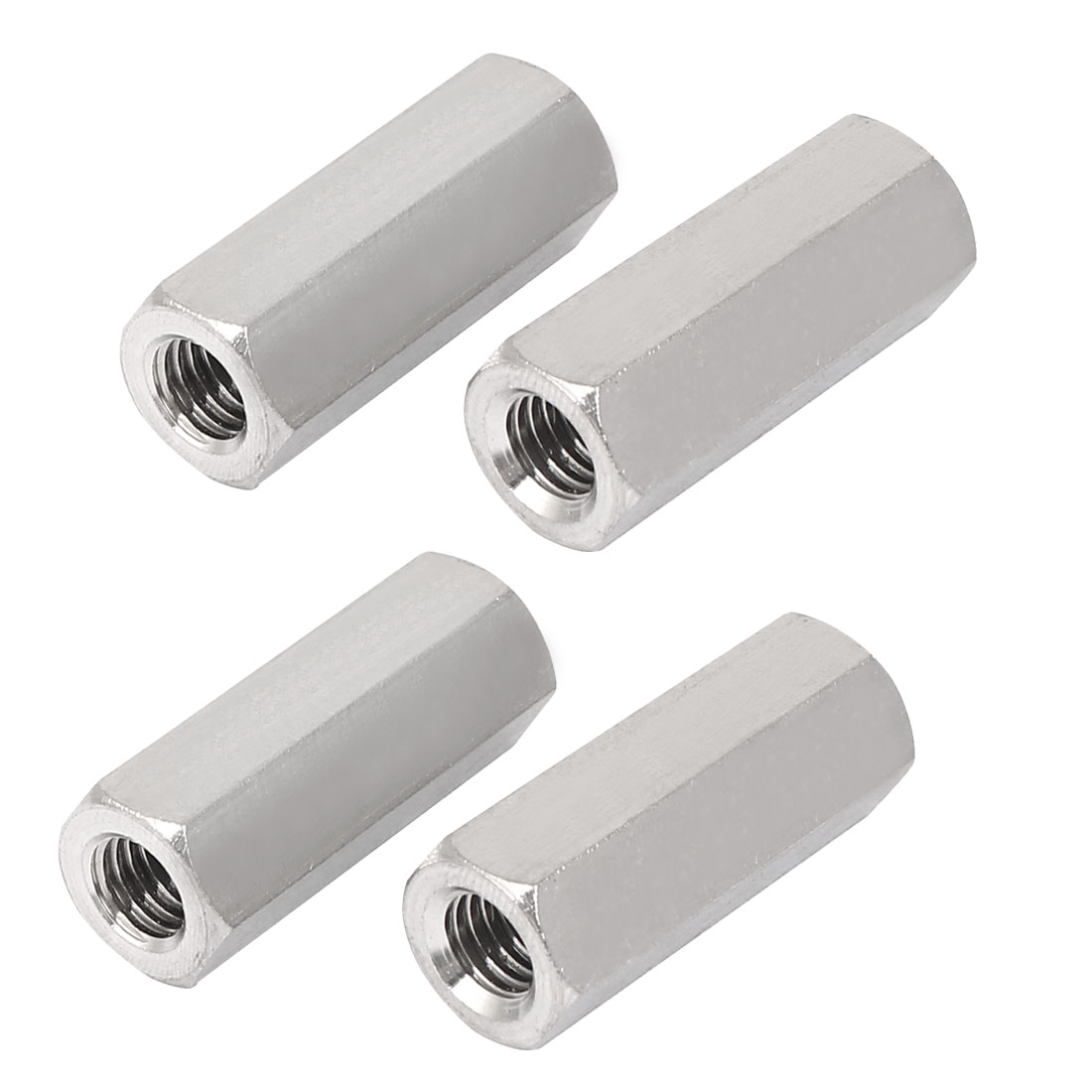 M8x35mm Stainless Steel Threaded Bar Rod Studding Hex Connector Deep Nut 4pcs