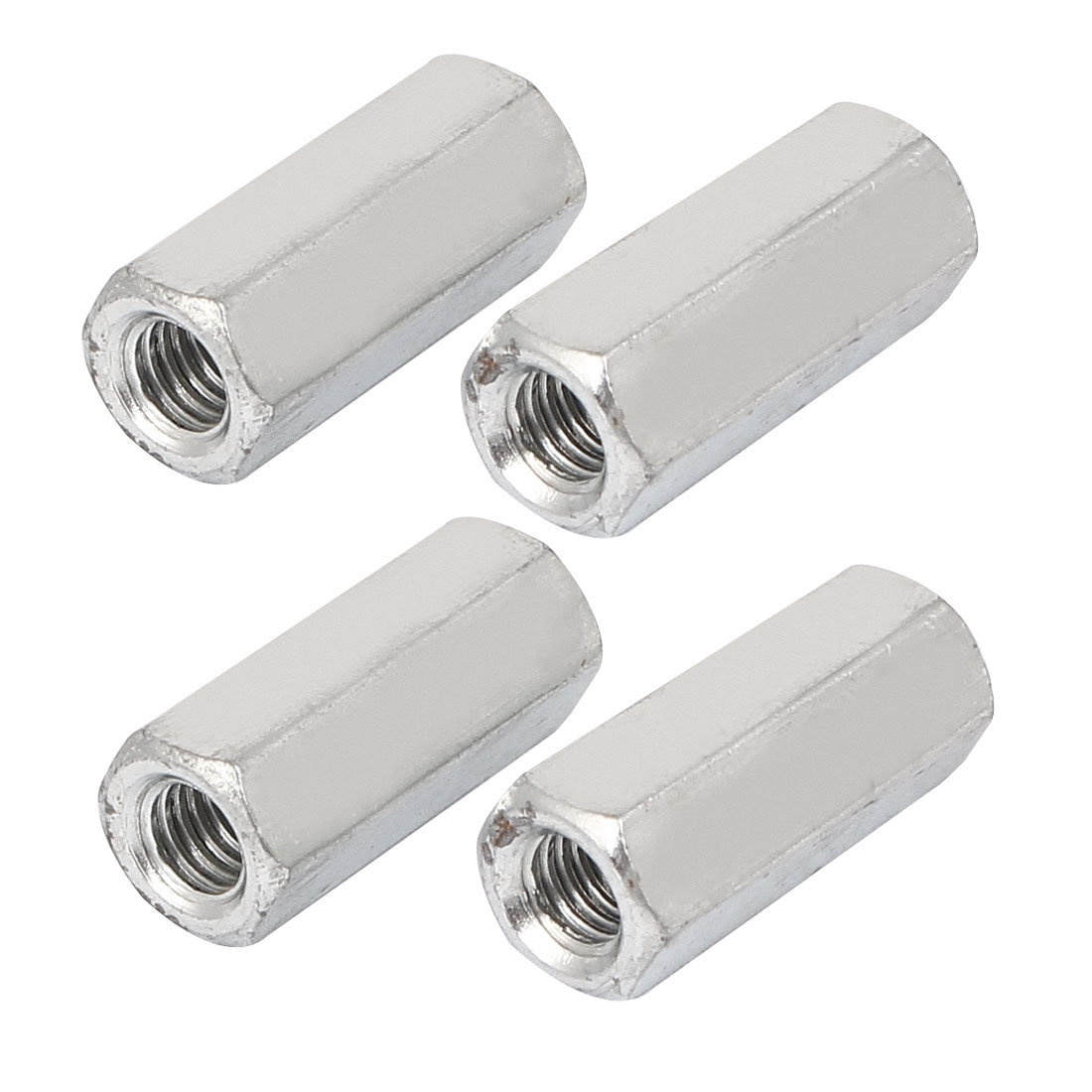 M6x25mm Stainless Steel Threaded Bar Rod Studding Hex Connector Deep Nut 4pcs