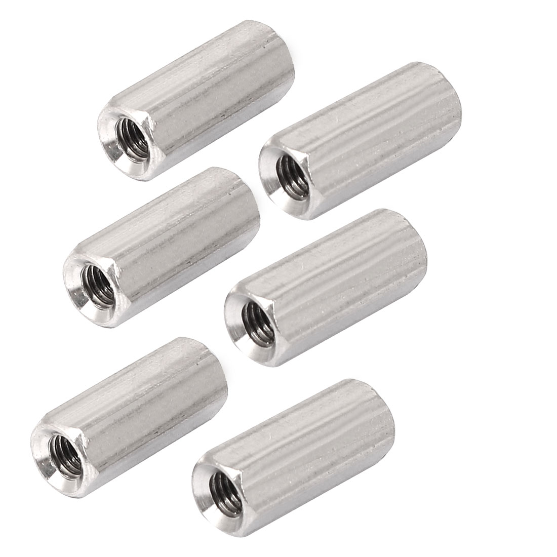 M5x20mm Stainless Steel Threaded Bar Rod Studding Hex Connector Deep Nut 6pcs