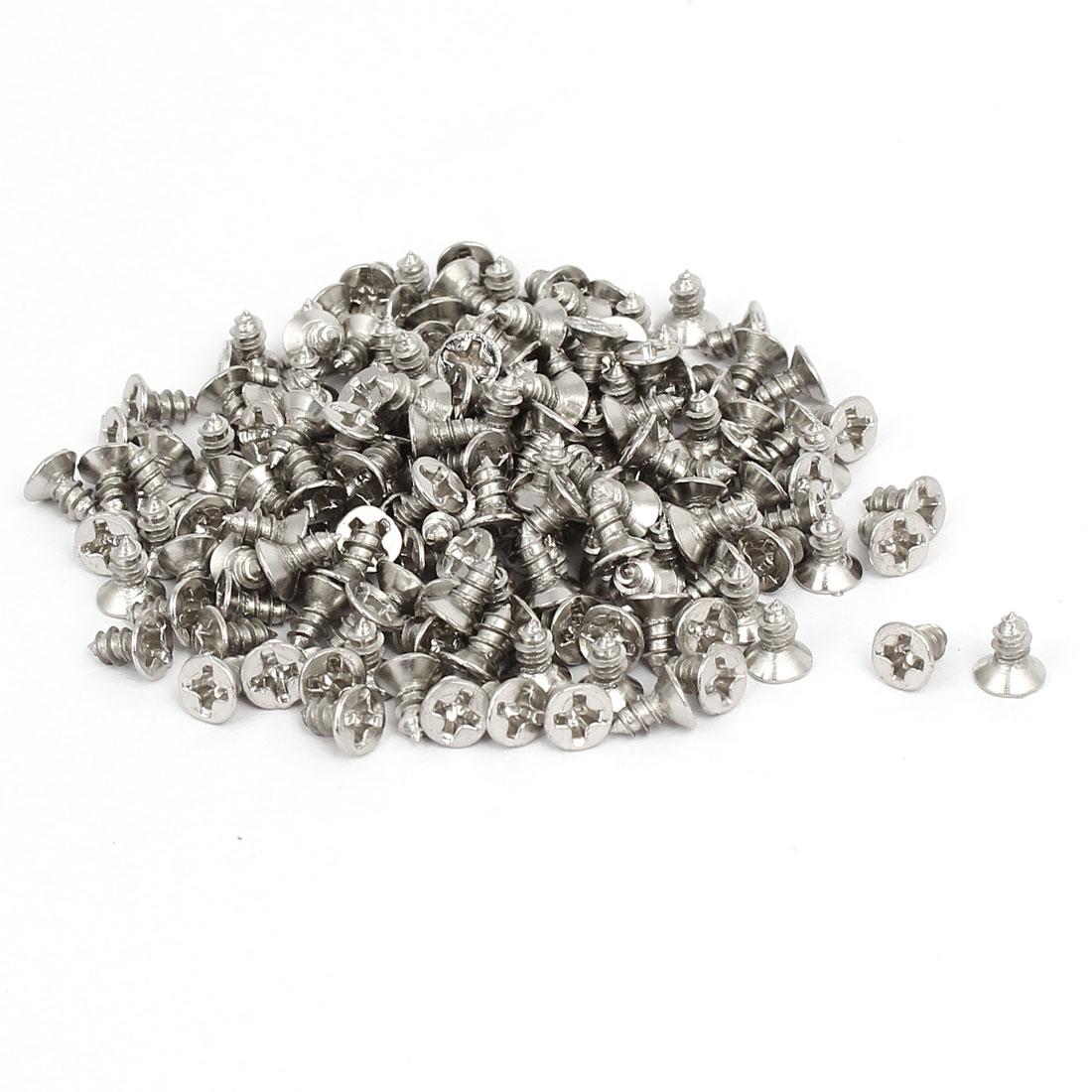 M3 x 6mm Phillips Flat Head Self Tapping Screws Silver Tone 200pcs