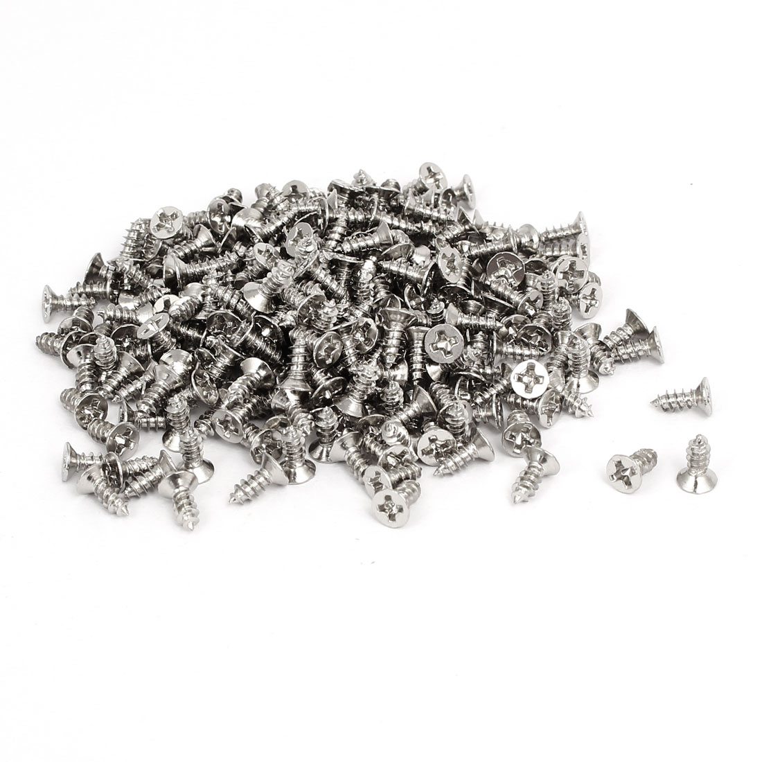 M3 x 8mm Phillips Flat Head Self Tapping Screws Silver Tone 275pcs