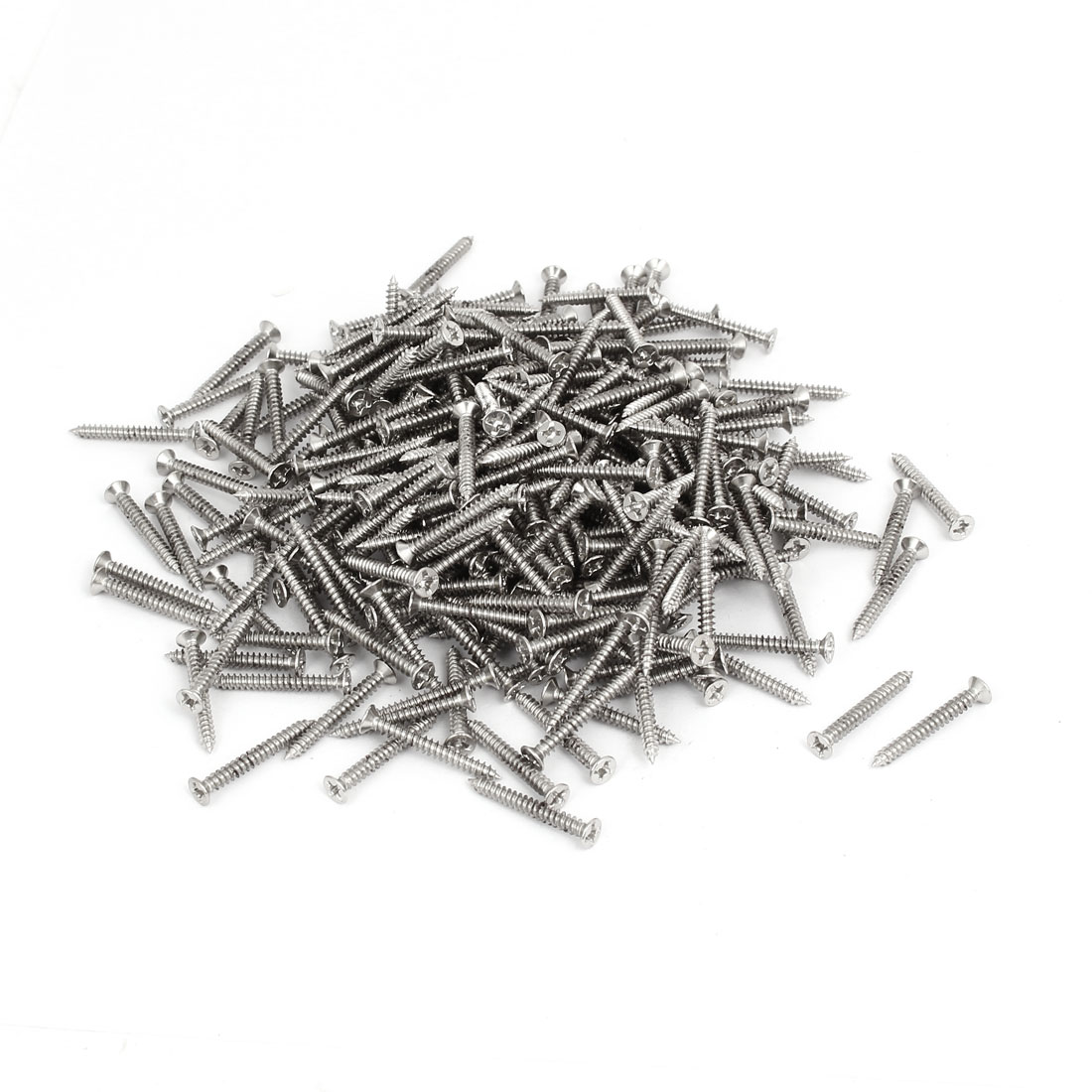 M3 x 25mm Phillips Flat Head Self Tapping Screws Silver Tone 500pcs