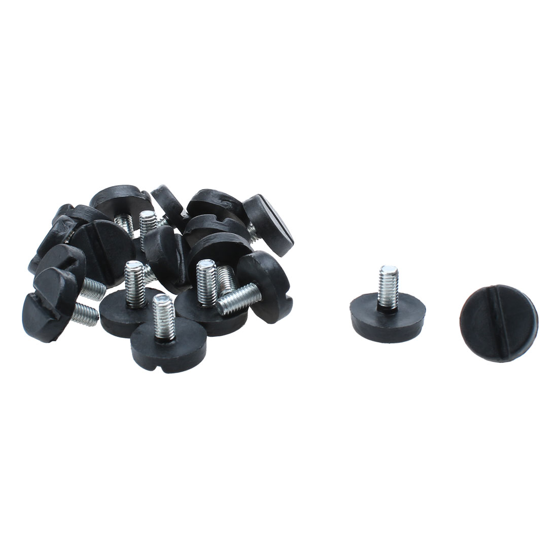Furniture Adjustable Screw Slotted Head Leveling Feet Black Silver Tone M6x13mm 20 Pcs