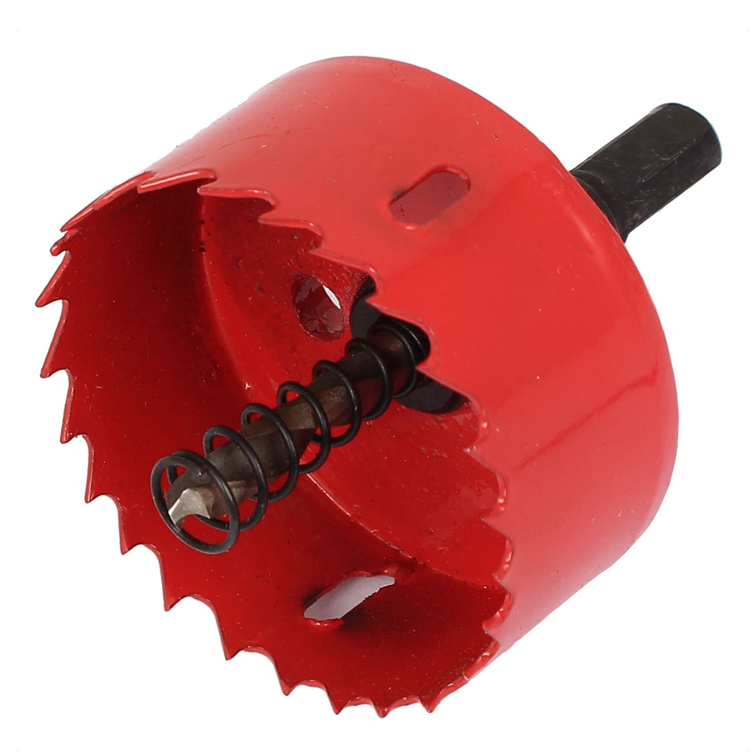 10mm Shank 60mm Cutting Dia Toothed Bi-Metal Hole Saw Cutter Drill Bit Tool Red
