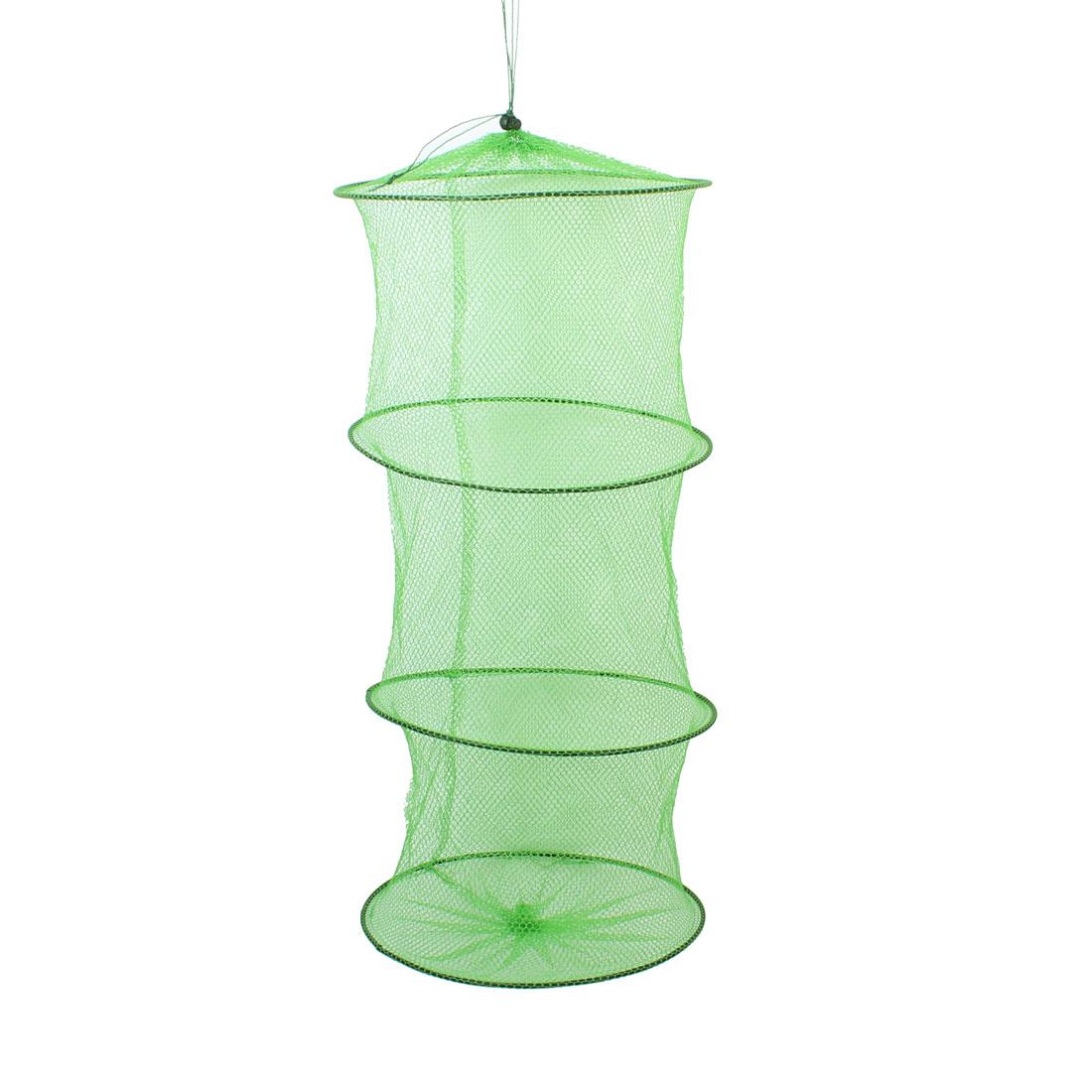 Green Mesh Folding 3 Layers Round Shaped Shrimp Cage Keepnet