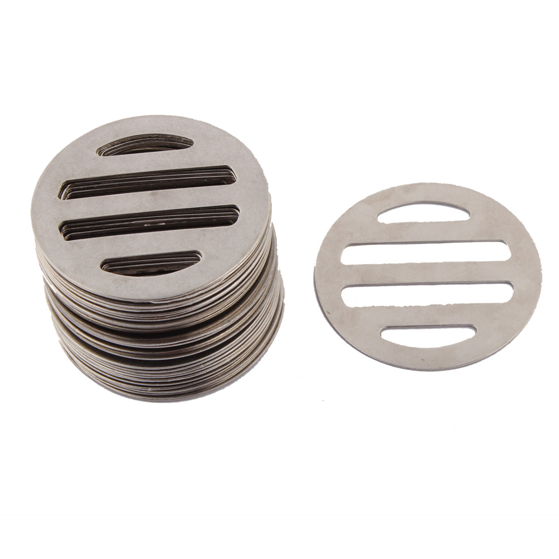 Kitchen Bathroom Metal Round Shaped Floor Drain Drainer Cover Silver Tone 30 Pcs