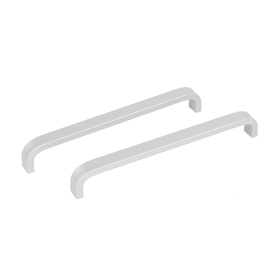 Closet Drawer Aluminum Flat Bow Type Pull Handle Silver Tone 133mm Length 2pcs