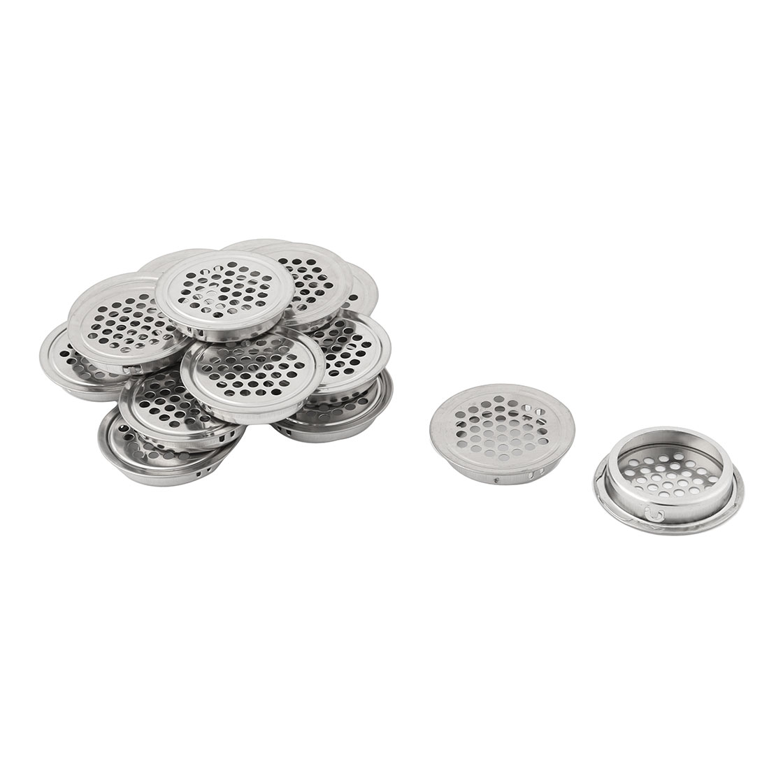 Household Metal Round Perforated Mesh Air Vent Cover 35mm Dia 15 Pcs